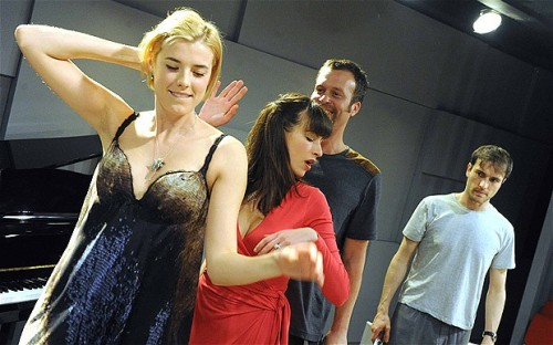 Scene from The Leisure Society (L:R: Agyness Deyn, Melanie Gray, John Schwab and Ed Stoppard)